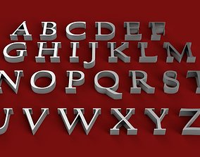 CALIFORNIAN font uppercase and lowercase 3D letters STL