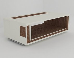 Modern white TV table 3D asset low-poly