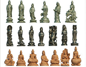 set buddha statue collection 3D model