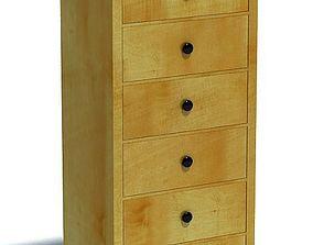 Modern Wood Dresser Six Drawers 3D model