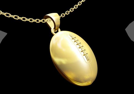 usa Football Pendant jewelry Gold 3D print model