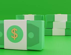 3D simplified model of a bundle of dollars