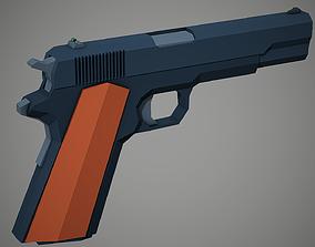 Stylized Colt 1911 Pistol Low Poly Mobile Ready 3D model