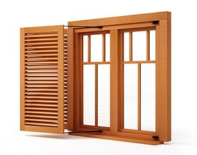 3D Wooden Window Shutter