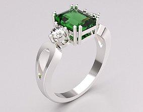 3D print model Ring Emerald