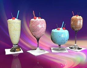 3D model Ice cream in a glass