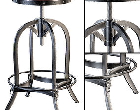 Dempsey Swivel Iron Bar Stool Brown Leather 3D model