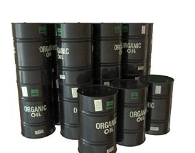 Black Painted Oil Barrel 3D model