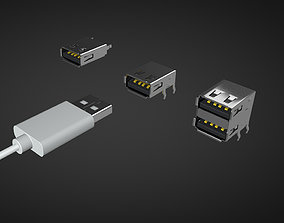 Usb type a Male and Female connector 3D model