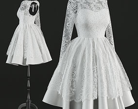 3D Short wedding dress