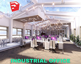 3D model Industrial Office on Attic with Skylights Scene -
