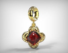 Jewelry Golden Earring Hanging Ruby 3D printable model