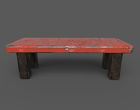3D asset Red Iron chair or table low poly and high