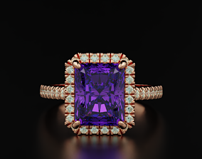 3D printable model Ring with diamonds and emerald 551