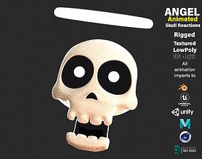 Animated Angel Skull Emoji 3D asset VR / AR ready