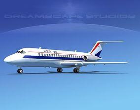 3D Douglas DC-9-15 USA Jet