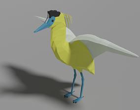Cartoon Capped Heron 3D asset