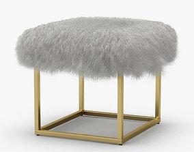 Reno Gold Sheepskin Ottoman 3D model