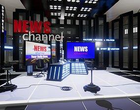 News Channel TV Studio Unity 3D model