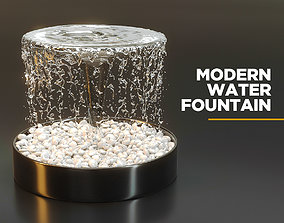 3D Modern water fountain with simulated stream