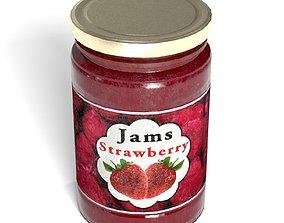 3D model jam jar - PBR - game ready