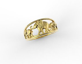 3D print model tre elefants ring