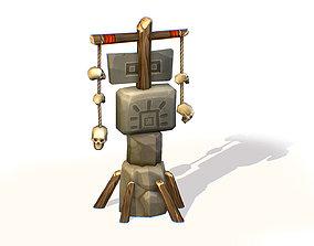 Handpaint Cartoon Stone Memorial Totem Symbol 3D model