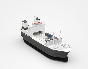 3D model Small Freight Ship Cargo Partly Loaded With