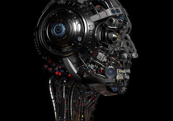 sci-fi robot face under the mask