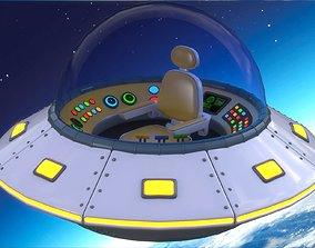 Cartoon UFO Ship 3D asset