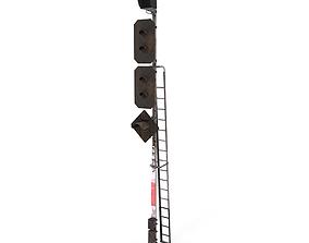 3D model Train Traffic Light Weathered 21