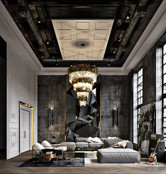 Modern classic industrial style penthouse