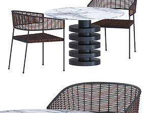 CB2 table and chairs 3D model