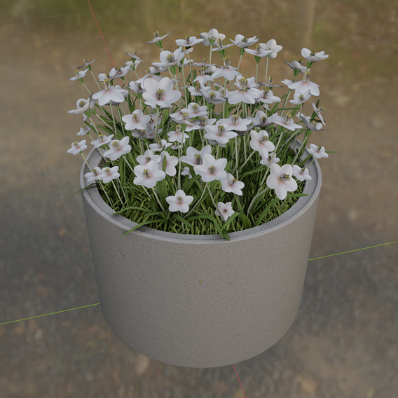 Concrete-Pipe-Pot-1000mm-with-White-Flowers-Version-1 (Blender-2.91 Eevee)