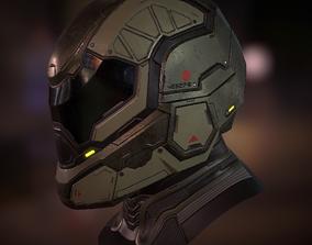 Futuristic soldier helmet 3D asset