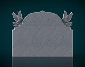 memorial tombstone with pigeon figure 3D print model