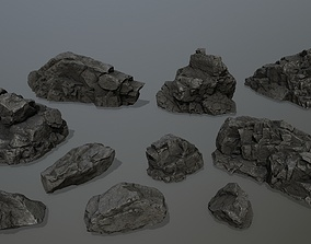 rocks desert 3D model realtime
