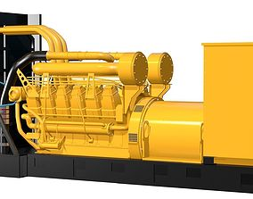 Yellow Industrial Generator Model