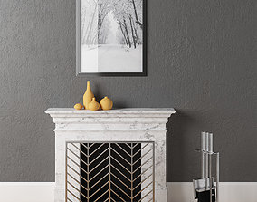 Fireplace with Chevron Screen 3D