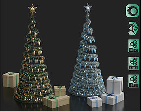 3D model Wire Spiral Decorated Christmas tree with gifts