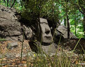 3D Moai Stone Statues