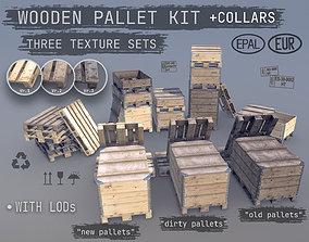 Cargo Wood Pallets Collars Cover EUR EPAL 3D model