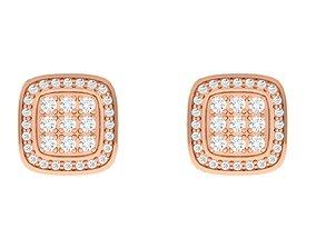 gold Women Square Earrings 3dm stl render detail