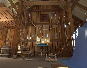 pack Old barn for 3D and 2D animation Cartoon low-poly