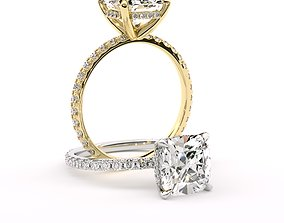 Cushion cut diamond engagement ring 3D print model