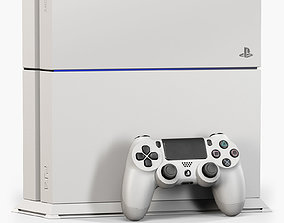 Sony PlayStation 4 with Stand White 3D model