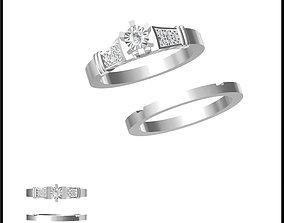 3D print model Minimalist bridal set rings autocad jewelry