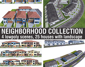 3D model Neighborhood Houses Collection - 4 Pack