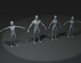 Human Body Base Mesh 3D Model Family Pack 20k