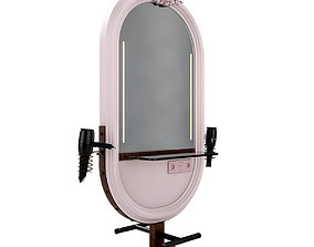 3D model hairdresser table mirror pink rust